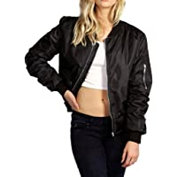 Bigood Women Ladies Long Sleeve Round Neck Zipper Bomber Jacket Coat Tops