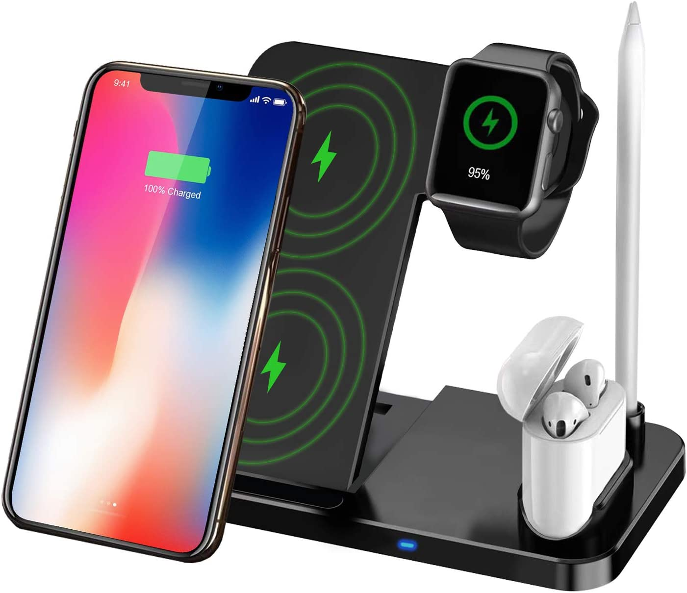 TaoHorse Wireless Charger, 4 in 1 Wireless Charging Station for iPhone 12/11/11 Pro Max/XR/XS Max/Xs/X, Wireless Charging Pad with iWatch Stand Pencil Holder for AirPods/AirPods Pro, iWatch 5/4/3/2/1