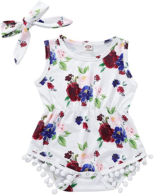 Toddler Baby Boys Girls Floral Romper Bodysuit Jumpsuit Headband Sets Outfits