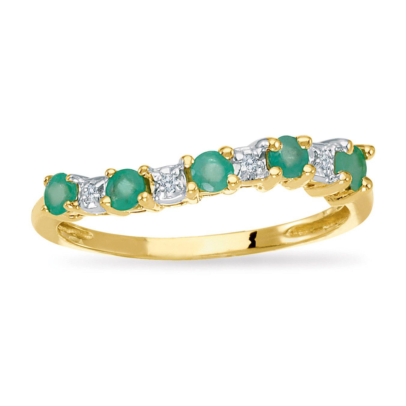 14k Yellow Gold Emerald and Diamond Wave Band