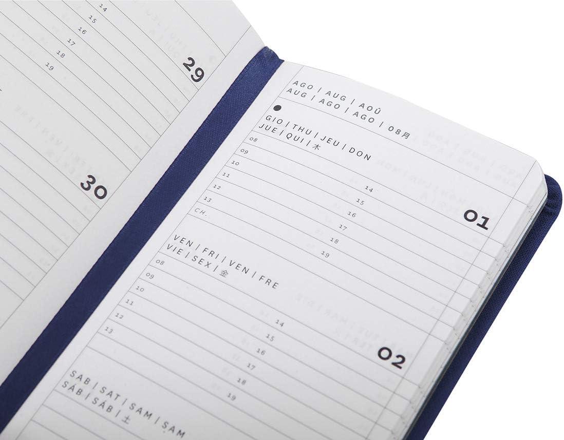 Agenda 2020 settimanale chiusura a elastico 8 /× 14,8 cm colore grigio