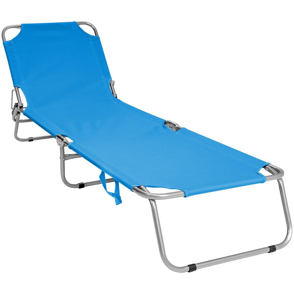 Charles Bentley Foldable Camping Sun Lounger Sun Bed Recliner Garden Black