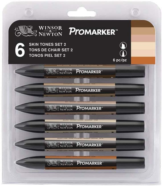 Winsor & Newton Promarker - Pack De 6 Rotuladores, Tonos Piel, Set Nº2