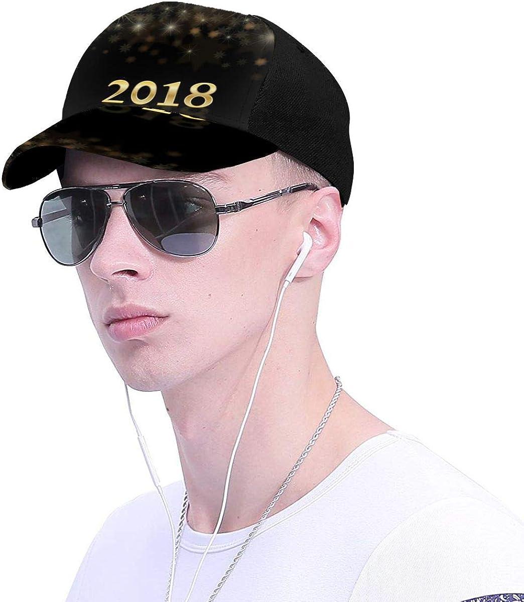 New Year 2018 Glitter Classic Baseball Cap Men Women Dad Hat Twill Adjustable Size Black