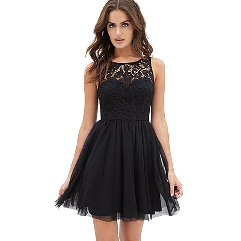 900ffafb6dba Bekleidung Longra Damen ärmellose Spitzen rückenfreies Kleid Mädchen ...