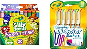 Crayola Silly Scents Sweet & Stinky Scented Markers, 20Count, Washable Markers, Gift for Kids, Age 3, 4, 5, 6 & Triple Tip Markers, Washable Markers, 15 Vivid Colors, 5 Count