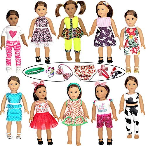 "21 Pcs 18 inch Doll Clothes and Accessories fit American 18"" Girl Dolls – Including 10 Complete Set of American Doll Clothes Outfits with Unicorn Hair Clips, Hair Bands, Underwear"