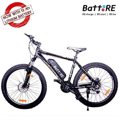 BattRE Electric Cycle  250 Watt Motor, 36 v Lithium Battery, Steel Frame,  Front Suspension, 21 Gears, F/R Disc Brakes, Multicolour