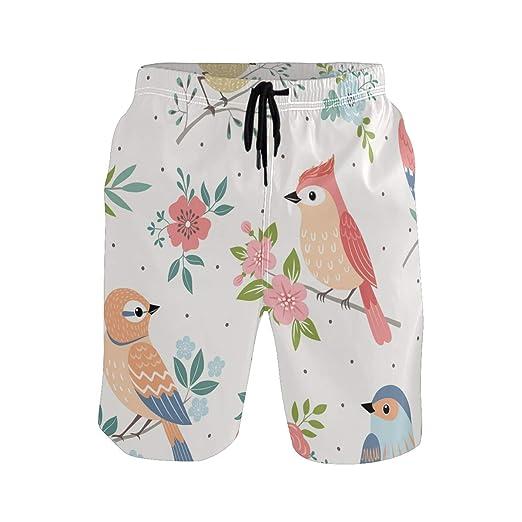 BONIPE - Bañador para Hombre con diseño de Flores y pájaros y ...