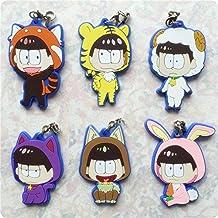 KeyChain KeyRing Cellphone Charm Phone Chain Pendant for Anime Osomatsu-san Mr.Osomatsu Flexile Rubber (pack of 6)