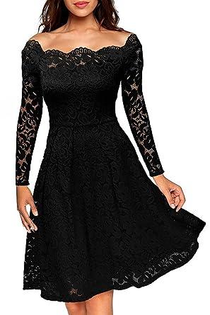 Schulterfreies Spitzenkleid Skaterkleid Cocktailkleid Langarm Kleid Abendkleid Touchie Damen Elegant ymOvNn0w8