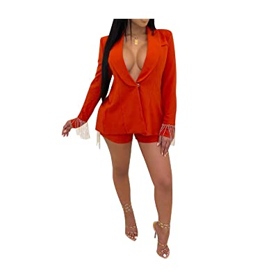 2 Piece Outfits for Women Long Sleeve Solid Color Fringe Blazer with Shorts Back Slit Casual Elegant Business Suit Sets: Clothing