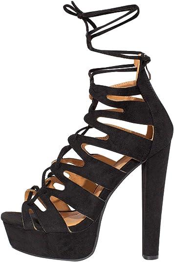 Fashion Thirsty Neu Damen Plateau Gladiator Sandalen Schnürschuhe Stiefeletten