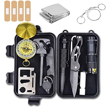 dd9ba8d169ef9 Emergency Survival Kit, 12 in 1 Outdoor Survival Gear Lifesaving Tools  Contains Folding Knife,