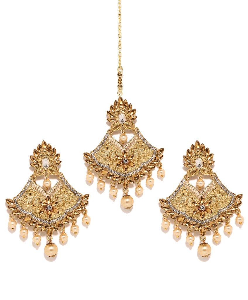 Bindhani Bollywood Wedding Indian Head Jewelry Bridal Maang Tikka Mang Tika Earrings For Women