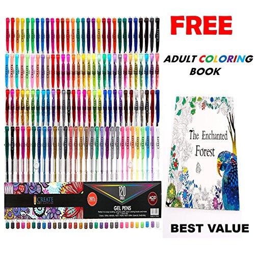 CREATE ART 120 Pack Gel Pens Set 50 MORE INK Premium