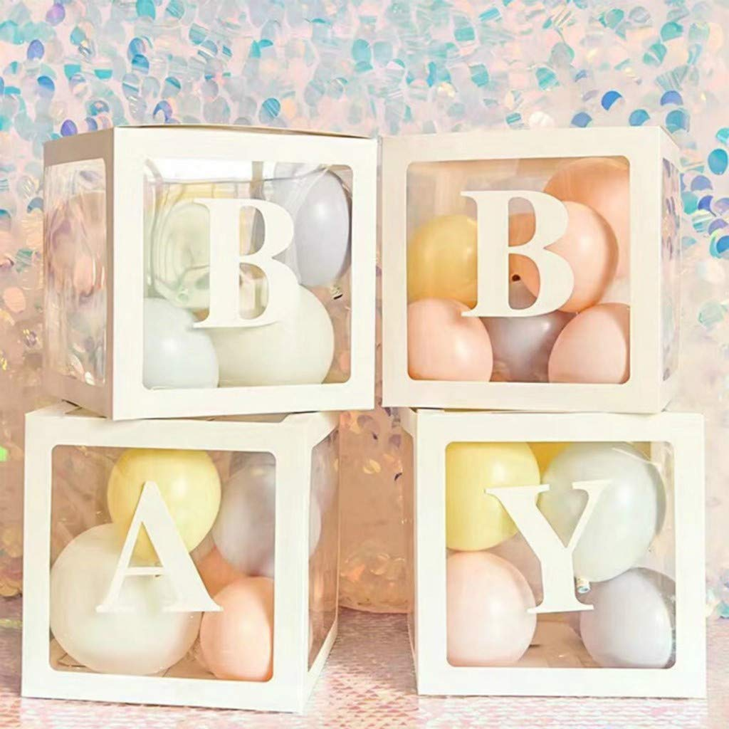 Baby Shower Decorations Balloon Clear Gift Box, A-Z 26 Alphabet Transparent Latex Balloon Decor Boxes with Letter for Baby Boys Girls First Birthday Party Bridal Showers Home Decor Girl Favors (4PCS) by FunDiscount shop
