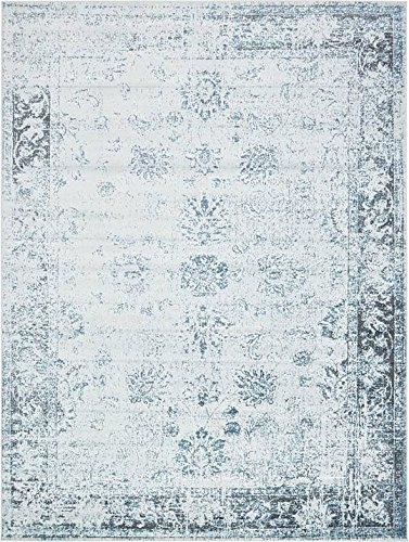 Unique Loom Sofia Collection Light Blue 9 x 12 Area Rug (9' x 12')