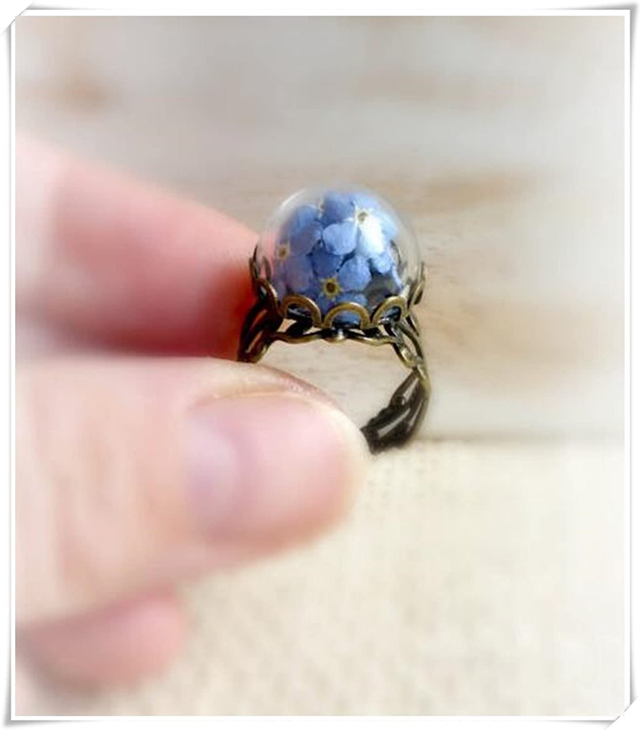 Forget Me Not Real Azul Flores Anillo