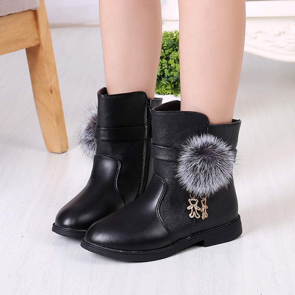 Toddler//Little Kid//Big Kid Kauneus Baby Girls Cute Pom Pom Side Zipper Pendant Leather Short Boots Winter Boot