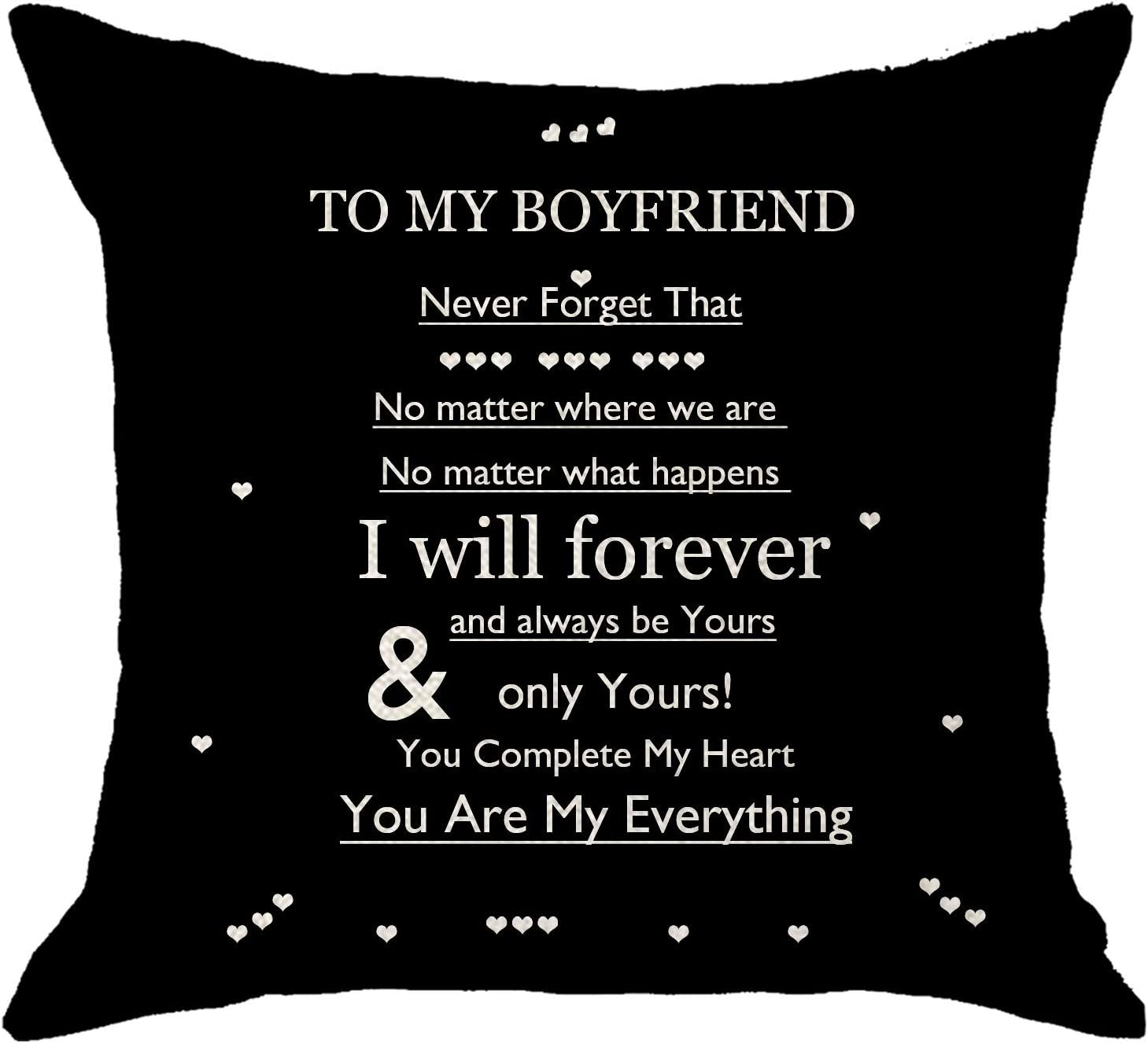 NIDITW Boyfriend Gift from Girlfriend Black Body Burlap Decorative Square Pillow Case Cushion Cover for Chair 45x45cm