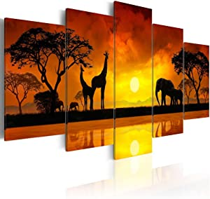"Konda Art 5 Piece Giraffe Canvas Wall Art African Landscape Sunset Tree Print Painting Home Decor Modern Animal Elephant Artwork for Living Room Framed and Ready to Hang (Savanna - Sunset, 40""x 20"")"