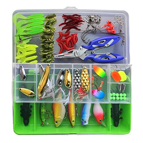 101Pcs / Set Fishing Lures Kits Mixed Universal Assorted Fishing Lure Set with Fishing Tackle Box - Including Spinners, Worm, Hard Lure,Sinking Lures,Minnow,Pliers,etc for Saltwater Freshwater (Assorted Plier Set)