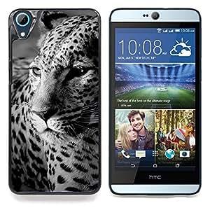 """Qstar Arte & diseño plástico duro Fundas Cover Cubre Hard Case Cover para HTC Desire 826 (Piel de leopardo Piel Negro Blanco Lindo felino"""")"""