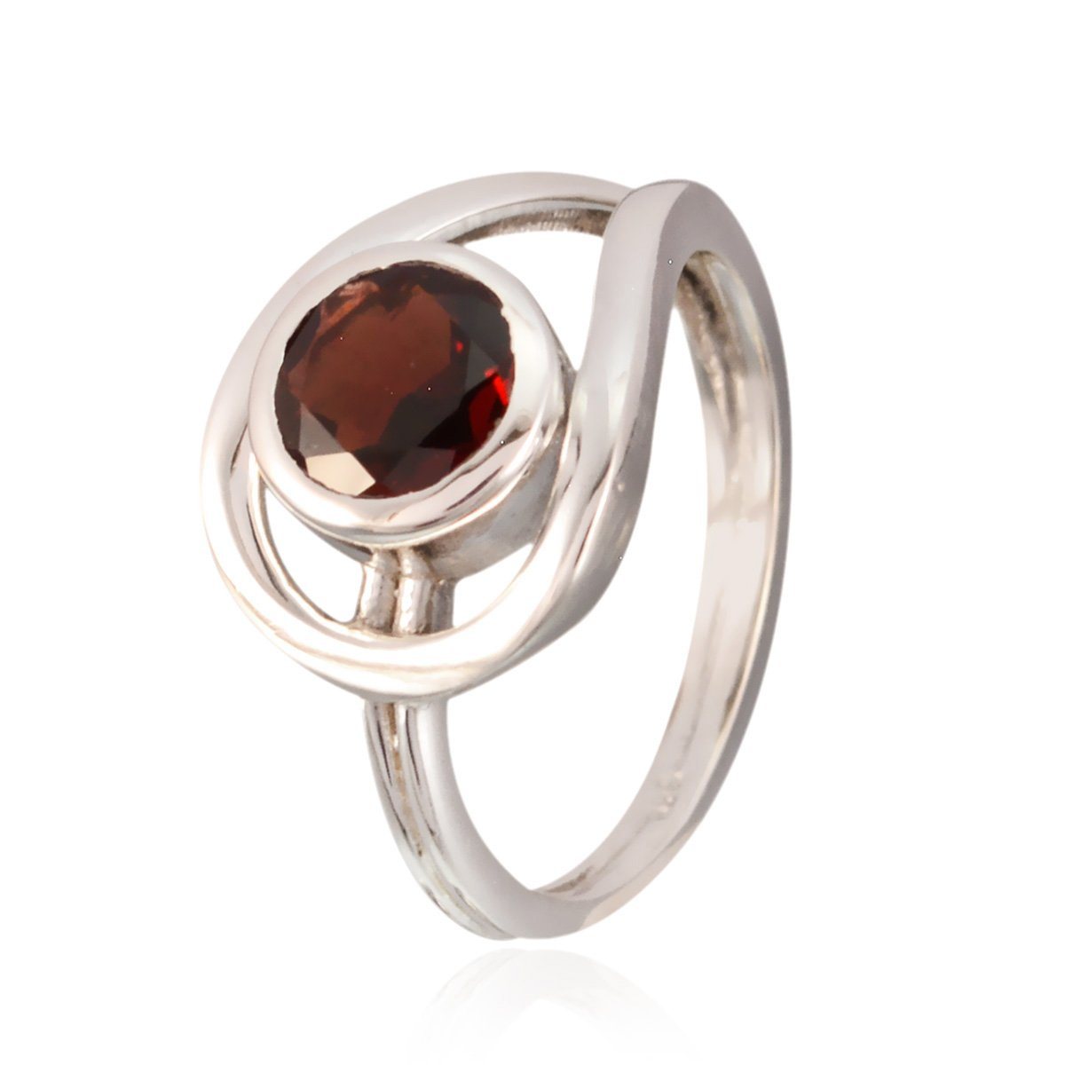 Solid Silver Red Garnet Nice Gemstone Ring Nice Gemstone Round Faceted Garnet Rings Supply Jewelry top Selling Shops Gift for Teachers Day Modern Stacking Ring