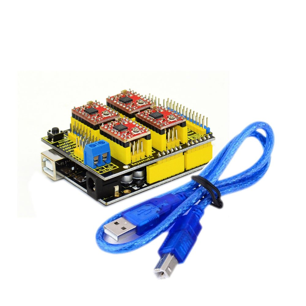 KEYESTUDIO UNO R3 CNC Kit/CNC Shield V3.0 +4pcs A4988 Stepper Motor Driver + UNO R3 ATmega328P with Usb Cable for Arduino GRBL Compatible by KEYESTUDIO (Image #4)