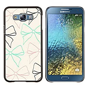 TECHCASE---Cubierta de la caja de protección para la piel dura ** Samsung Galaxy E7 E700 ** --Pajarita modelo negro marrón amarillento verde azulado