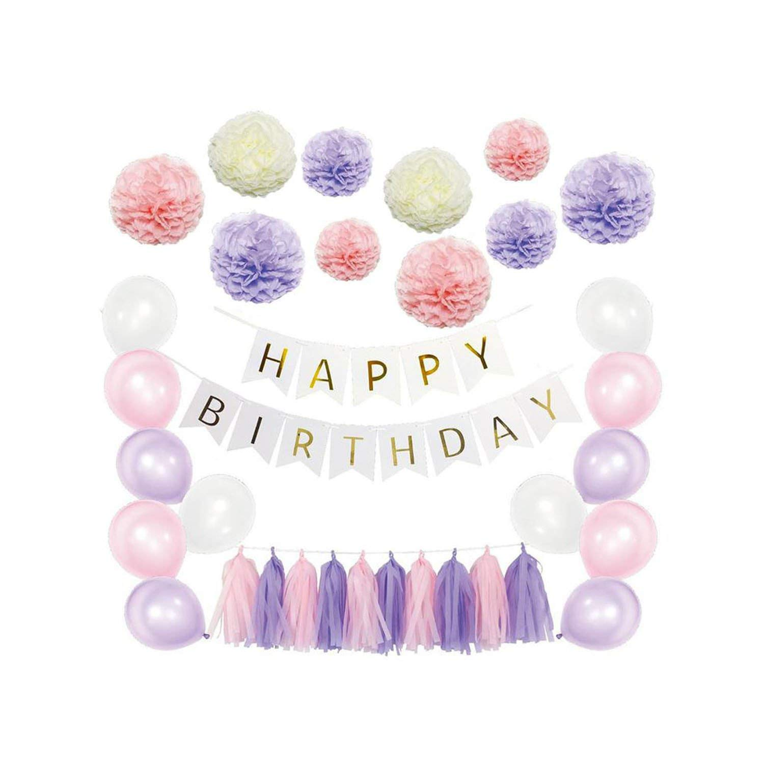 51 Pcs Paper Flowers Tassels DIY Paper Balloons Kit for Birthday Wedding Party Decoration (Pink Series),Purple