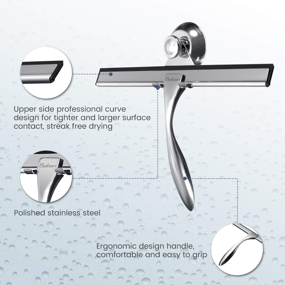 Baban Shower Squeegee Glass Squeegee Window Squeegee All-Purpose Squeegee for Bathroom//Kitchen//Car Glass//Mirror//Shower Door Stainless Steel Squeegee with Suction Cup Hooks Holder 9.6 Inch hbvfghfv
