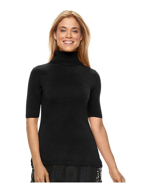 68a539d276464 Amazon.com  APT 9 Women s Petite Lace-Hem Turtleneck Sweater (Black ...
