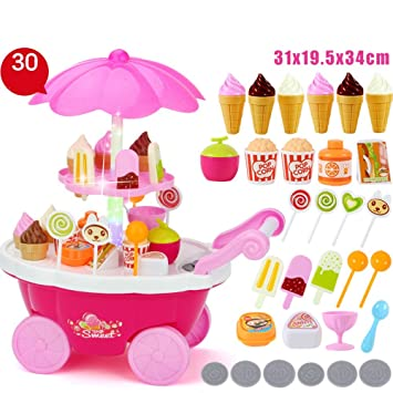 Juguetes para Bebés FEI Baby Role Play Toys 30 PCS Ice Cream & Sweets Carrito Musical