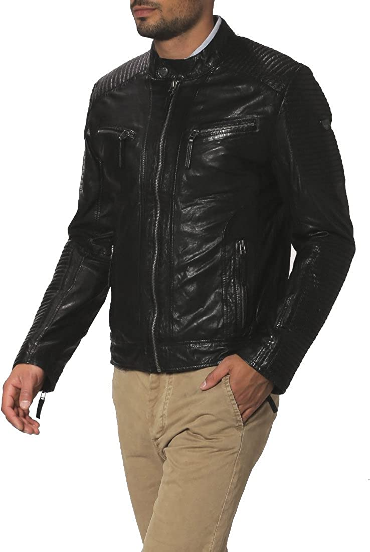 Mens Genuine Lambskin Leather Jacket Slim Fit Moto Biker Jacket T321