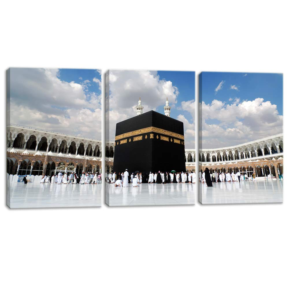 """KALAWA 3 Piece Islamic Religion Canvas Wall Art Painting Posters Prints Pictures for Home Decor and Living Room Framed Ready to Hang Large Panel Set Supply Decoration(12"""" W x 16"""" H x 3 Panels)"""