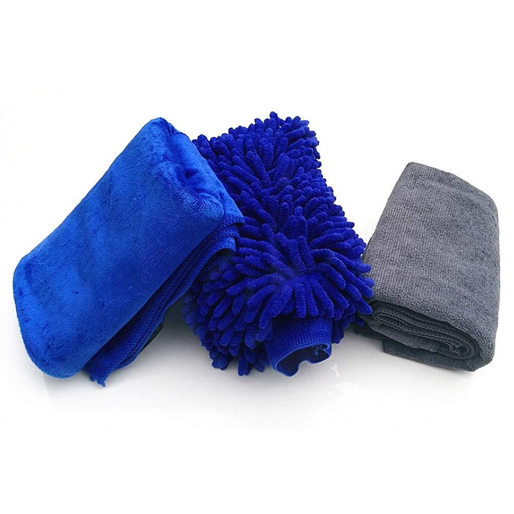 Sviper Car Washing Mitt 3pcs Car Cleaning Tools Kit Washing Mitt Exterior and Interior Microfiber Wash Towels Cloths Car Care Washing Tool