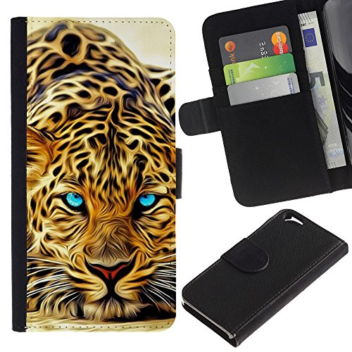 OMEGA Case / Apple Iphone 6 4.7 / leopard tattoo Africa cat animal nature / Cuir PU Portefeuille Coverture Shell Armure Coque Coq Cas Etui Housse Case Cover Wallet Credit Card