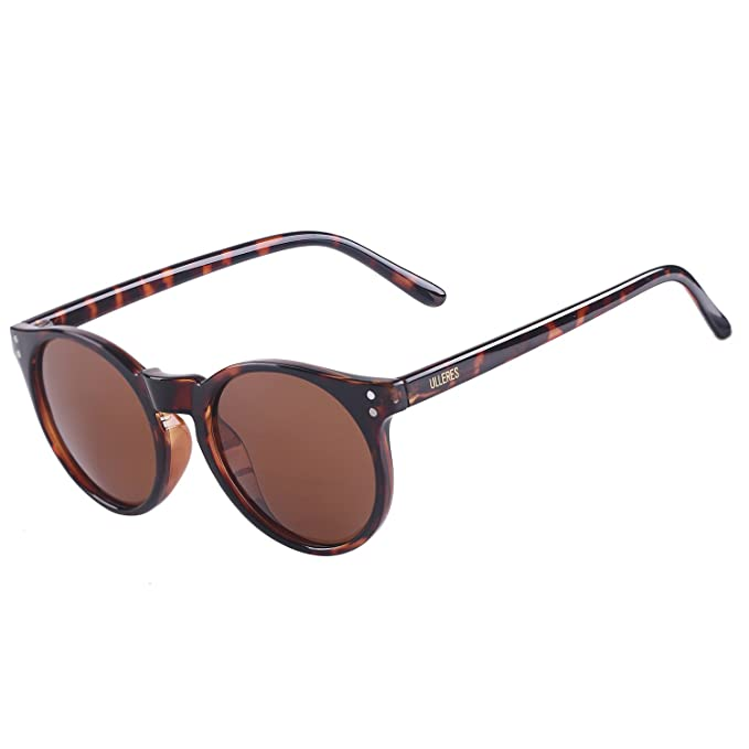 176fbad475 ULLERES Wayfarer Retro 80s Polarized Sunglasses for Kids Boys and Girls  (Brown round)