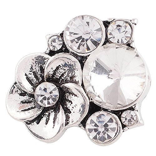 Interchangeable Snap Jewelry Rhinestone Flower Cluster Clear 18-20mm Snap My Prime Gifts