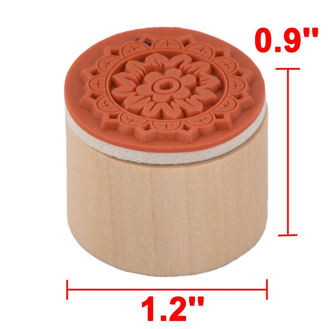 Amazon.com : eDealMax La Flor de Madera de impresión del sello de la Escuela Álbum de recortes Redonda DIY Sello Stamper 2 piezas Beige : Office Products