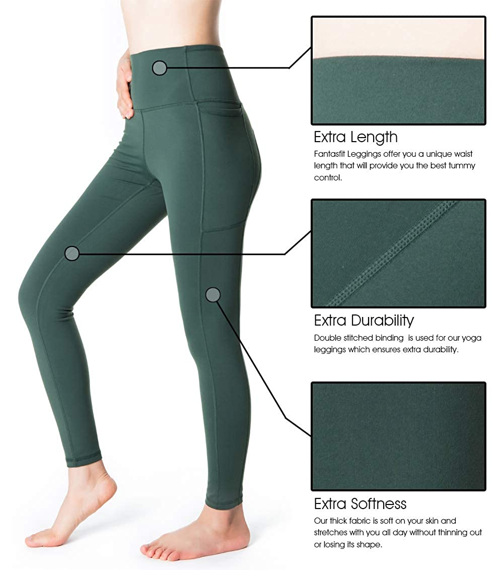 070b97ec680306 Amazon.com: Fantasfit High Waist Yoga Leggings for Women with Pockets Squat  Proof Workout Pants Tummy Control Trouser: Clothing