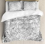 Twin Size Constellation 4 piece Duvet Cover Set Bedspread, Detailed Vintage Boreal Hemisphere Astronomy Ancient Antique Figures Artwork Print, 4pcs Bedding Set for Kids/Childrens/Adults Decor, Grey