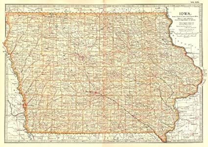 Old Iowa Map.Amazon Com Iowa State Map Showing Counties Britannica 10th