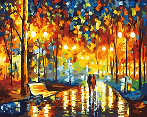 Rihe DIY Paint By Numbers Kits Mounted on Wood Frame Painting Kits on Canvas for Adults Kids Beginner - Our Romance Under Umbrella 16x20 Inch(Wooden framed)