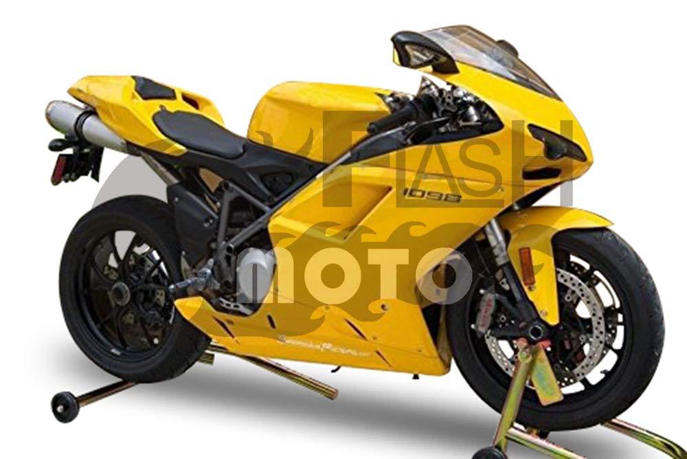 FlashMoto ducati デュカティ 1098 848 2007 2008 2009 2010 2011 2012 1198用フェアリング 塗装済 オートバイ用射出成型ABS樹脂ボディワークのフェアリングキットセット イエロー   B07L89ZDX9