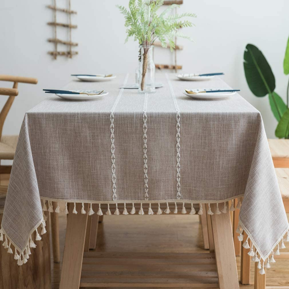 """Pahajim Stitching Tassel Tablecloth Heavy Weight Cotton Linen Table Cloths Fabric Dust-Proof Table Cover for Kitchen Dinning Farmhouse Tabletop Decoration (2Light Brown, Rectangle/Oblong, 55""""x102"""")"""
