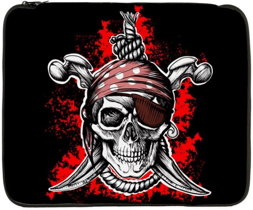 17 Inch Laptop Sleeve Pirate Skull Swords Eyepatch
