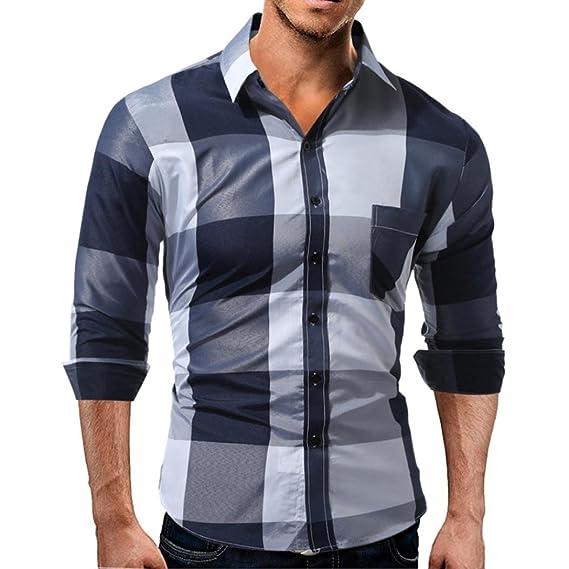 ♚Btruely Herren Camisetade Hombres de Otoño Blusa de Manga Larga Camiseta Plaid Casual Tops Jersey suéter Pullover de Deport: Amazon.es: Ropa y accesorios